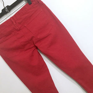 J, Crew Toothpick Ankle Crops Red Denim Jeans 29